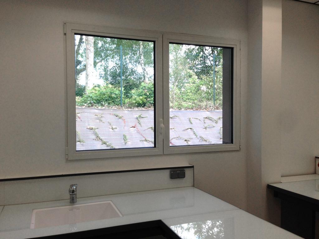 Fenêtre ouverture à la française dans une cuisine industrielle